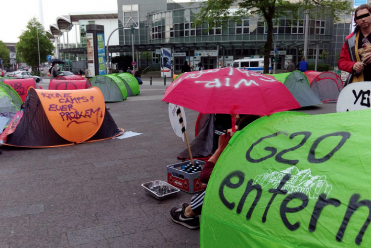 Rote Zonen zu Campingplätzen! Camp für die Proteste gegen den G20-Gipfel in Hamburg