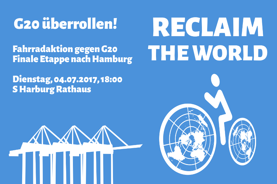 G20 überrollen - Aktionsbanner Hamburg