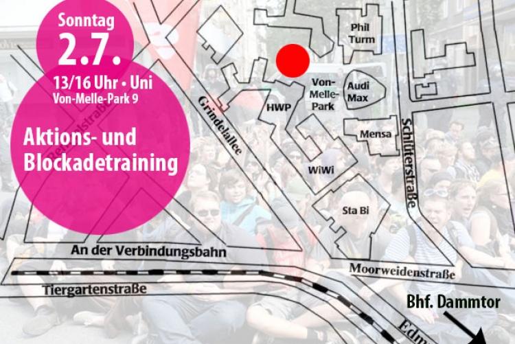 Aktionstrainings gegen den G20-Gipfel in Hamburg am 2.7.