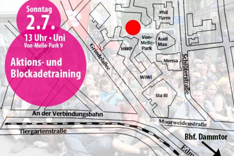 Aktions- und Blockadetraining gegen G20-Gipfel in Hamburg
